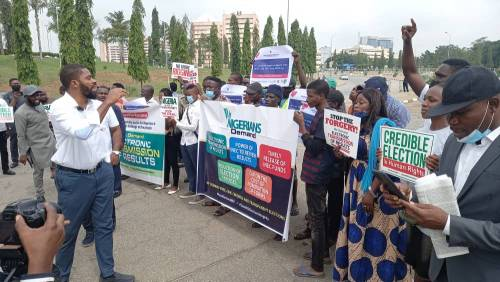 Activists, Yesufu, Adeyanju Lead Protest At National Assembly Over Plot To Forge Electoral Amendment Bill