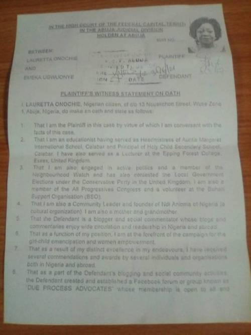 BUSTED Document Confirms Buharis Aide Onochie Lied To Senate She