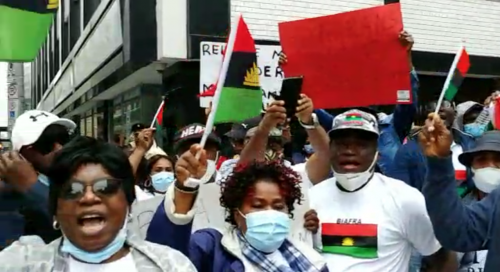 Biafra Supporters Storm British Embassy In Germany, Demand Nnamdi Kanu's Release