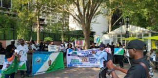 'Deliver Us From Union Of Death In Nigeria'—Yoruba Nation Agitators, Others Protest At UN Headquarters To Demand Referendum